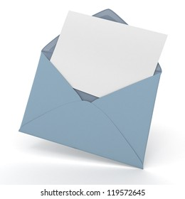 3D rendering of an open envelope and a blank, card
