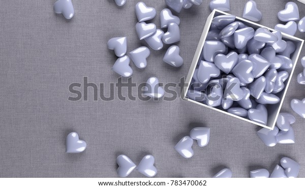3D Rendering Of Open Gift Box Full Of Purple Hearts On Fabric Surface Top View Closeup St. Valentine's Day