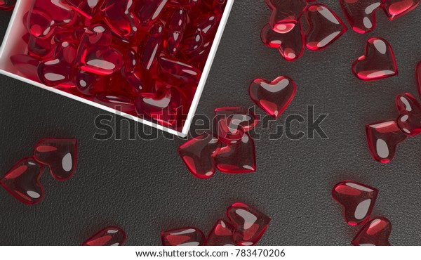 3D Rendering Of Open Gift Box Full Of Red Glass Hearts On Leather Surface Top View Closeup St. Valentine's Day