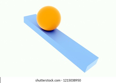 3d rendering of orange ball on ramp