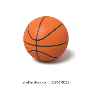 3d rendering of an orange basketball with black stripes standing on a white background. Team sport. Basketball gear. Sport activity.