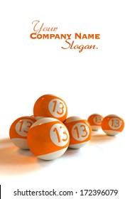 3D rendering of orange billiard balls with number 13