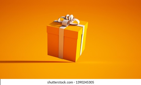 3D rendering of a orange giftbox with a white bow