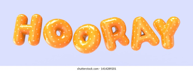 3d rendering orange HOORAY foil balloon phrase on purple background