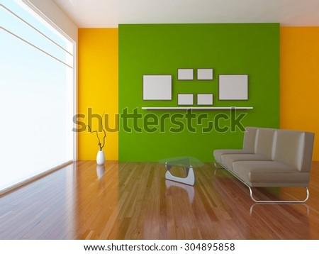 3 D Rendering Orange Interior Green Wall Stock Illustration