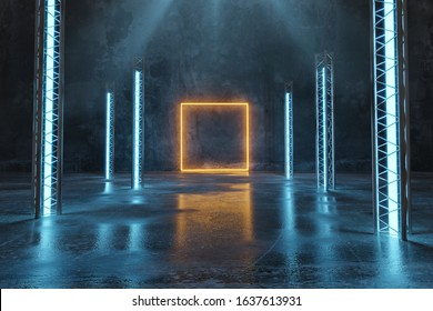 3d rendering of orange lighten square shape next to metal truss and blue light panels with puddles