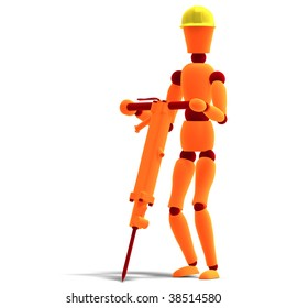3D rendering of a orange / red  manikin as a worker with jackhammer with clipping path and shadow over white