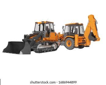 3d rendering orange road equipment loader excavator and crawler excavator on white background no shadow