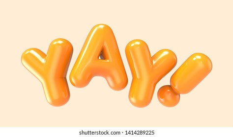 3d rendering orange YAY foil balloon phrase on light orange background