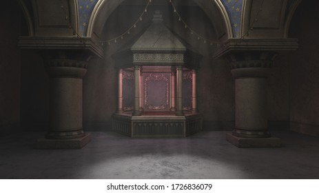 3d rendering of ornate fantasy Arabian nights tomb with marble columns and light beams from above