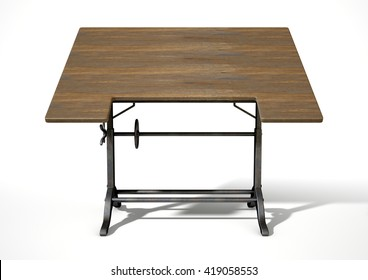 A 3D rendering of an ornate vintage metal and wood drafting table on an isolate white studio background