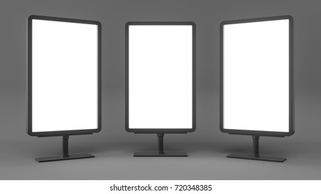 3D rendering Outdoor Advertising Stand Display Lightboxes Isolated