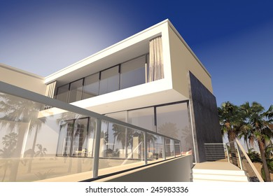 3D Rendering of Outdoor patio and living rooms of a luxury modern house in the tropics with a rectanglaur blocky design and large windows