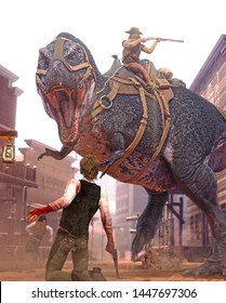 3D rendering of an outlaw riding into town on a Tyrannosaurus Rex.