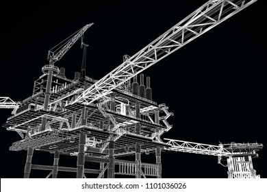 3D rendering , Outline drawing perspective Oil rig construction plant.