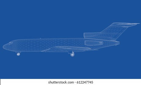 3d rendering of an outlined airplane