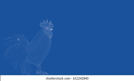 3d rendering of an outlined chicken
