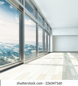 3D Rendering of Overlooking View From Large Building Glass Windows on Metal Frames. Captured in an Empty Room.
