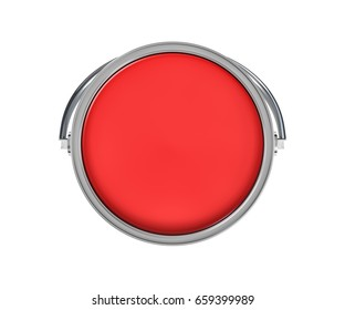 3d rendering of a paint bucket full of red paint in top view. Painting tools. DIY. Homebuilding and renovation.