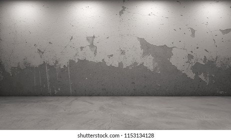 3d rendering of paint ripped off wall