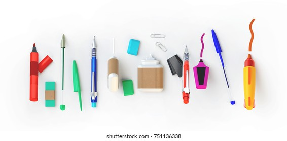3d rendering of paint and write tools set. Stationery lying in a row on the white background. Education or school supplies items in nice bright cartoon style. Top view