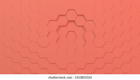 3D rendering of pantone color of the year coral hexagons perfect for slides presentation background. Bright and trendy. Best digital background.