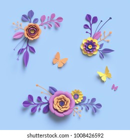 3d rendering, paper art, decorative flowers, floral backround, botanical pattern, pastel candy colors, vibrant palette, isolated design elements