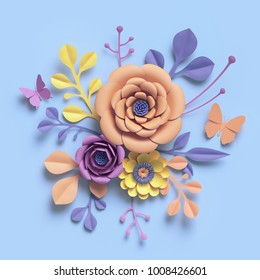 3d rendering, paper art flowers, floral backround, botanical pattern, round bouquet, pastel candy colors, vibrant palette