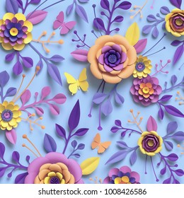 3d rendering, paper art, rose flowers, floral pattern, botanical background, pastel blue pink and yellow colors