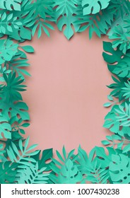 3d rendering, paper art, tropical palm leaves, botanical background, pastel candy colors, tropical nature, foliage frame, blank card template