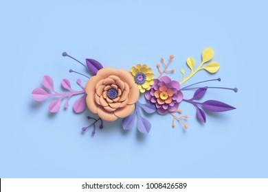 3d rendering, paper flowers, botanical background, floral border, pastel candy colors, papercraft