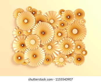 3d rendering, paper flowers, golden color palette, botanical background, isolated clip art, bouquet, floral border Creative minimal autumn flat lay.