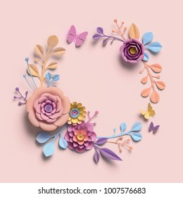 3d rendering, paper flowers, pastel color palette, botanical background,  isolated clip art, round wreath, blank greeting card