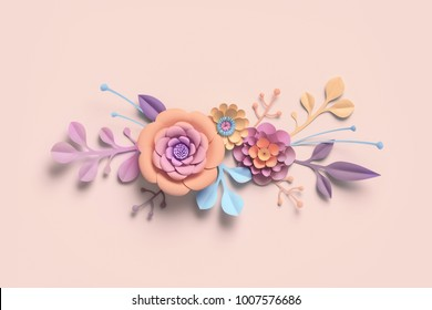 3d rendering, paper flowers, pastel color palette, botanical background, isolated clip art, bouquet, floral border
