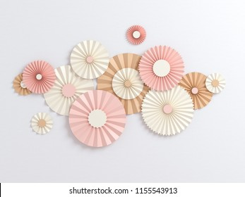 3d rendering, paper flowers, pastel color palette, botanical background, isolated clip art, bouquet, floral border Creative minimal autumn flat lay.