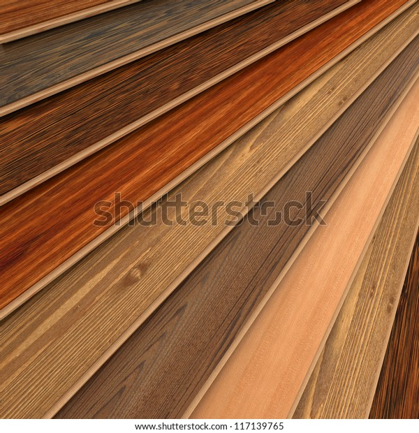 3d Rendering Parquet Strips Different Types Stock
