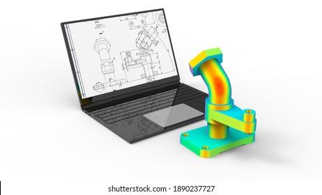 3D rendering - part design finite element analysis