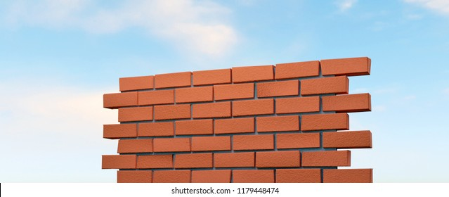 3D rendering of part of red brick wall and cloudy sky in the background