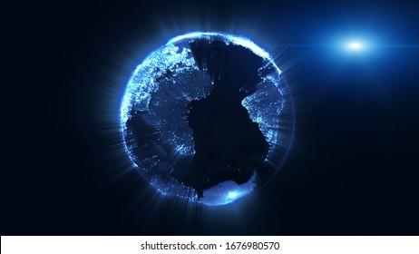 3D-Rendering, Erdkugel aus Partikelerde, rotierender Lichtstrahl und Lichtstrahlstrahl, Big-Data-Technik, Business- und Kommunikationskonzept.