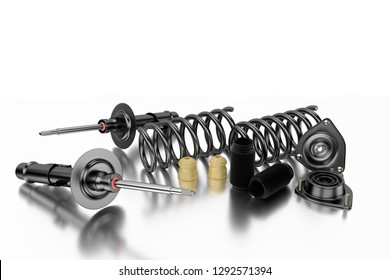 3D rendering. Passenger car Shock Absorber with dust cap. Buffer mounting and strut mounting for shock absorber - new auto parts, spare parts. Shock absorber for shop, aftermarket OEM
