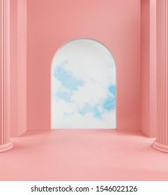 3d rendering of pastel walkway ,pink  color background and blue sky behind the door copy space