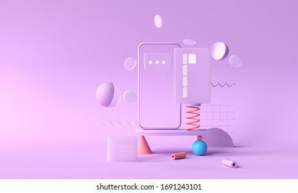 3D rendering payment via credit card concept. Secure online payment transaction with smartphone. Internet banking via credit card on mobile. geometric object floating background.