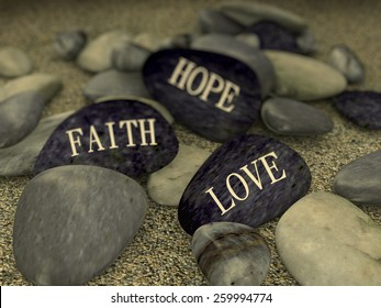3d rendering of pebble with word text love faith hope