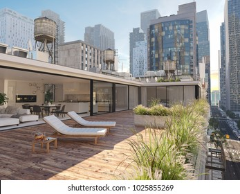 3d rendering. penthouse terrace in a big city.