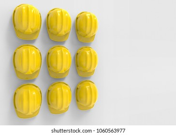3d rendering. Perspective view of A group of safty helmet hat hanging on copy space gray wall background.