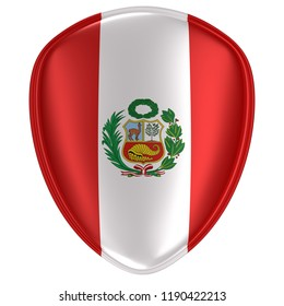 3d rendering of a Peru flag icon on white background.