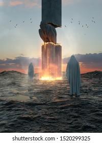 3d rendering phantasy flame mountain volcano lava statue phenomen sand sky water landscape sunrise man