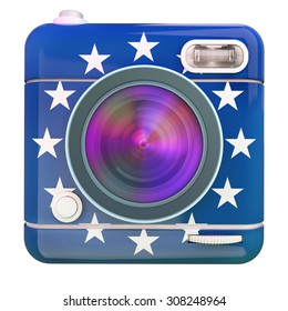 3D rendering of a photo camera icon with European Union flag colors