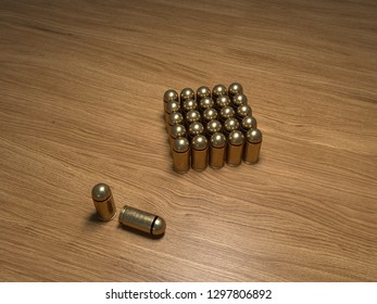 3D rendering of a photorealistic 9mm of Makarov pistol bullets there are cartridges in the shape of a square on a light wooden table and two stand beside them