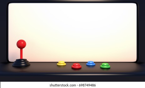 3d rendering picture of arcade machine with joystick and push buttons.